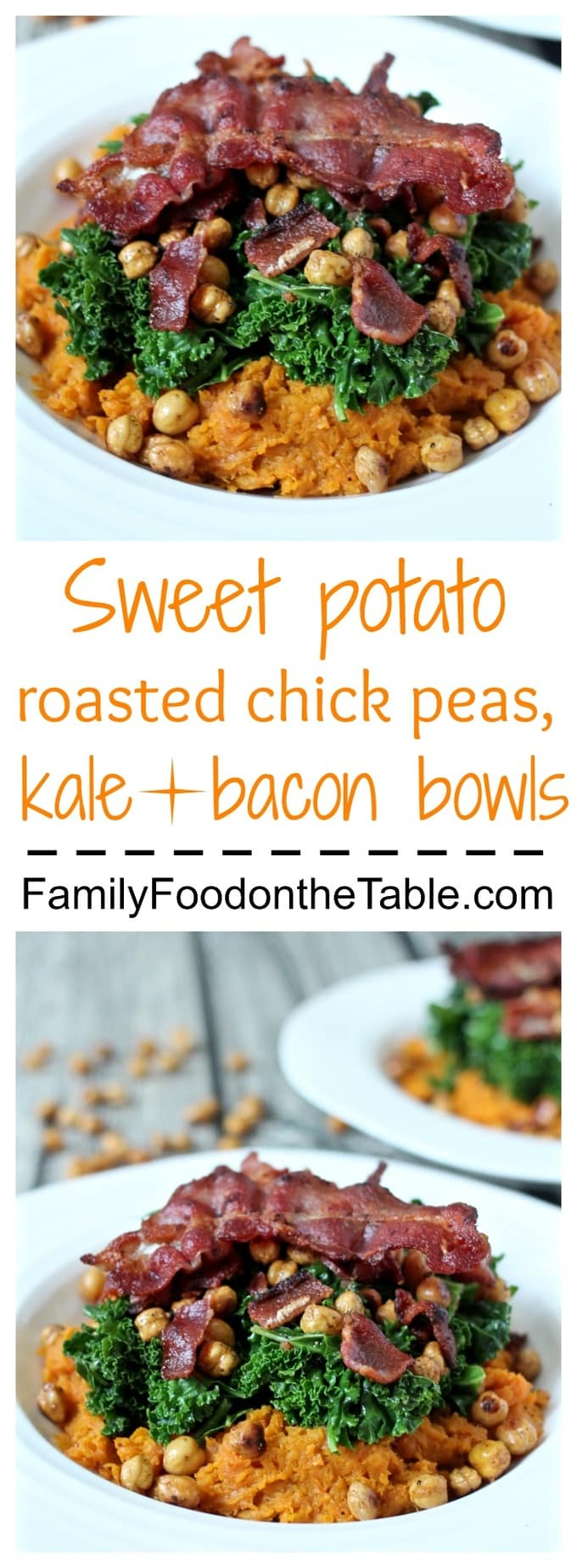 Mashed sweet potatoes topped with sautéed kale, roasted chick peas and crispy bacon!