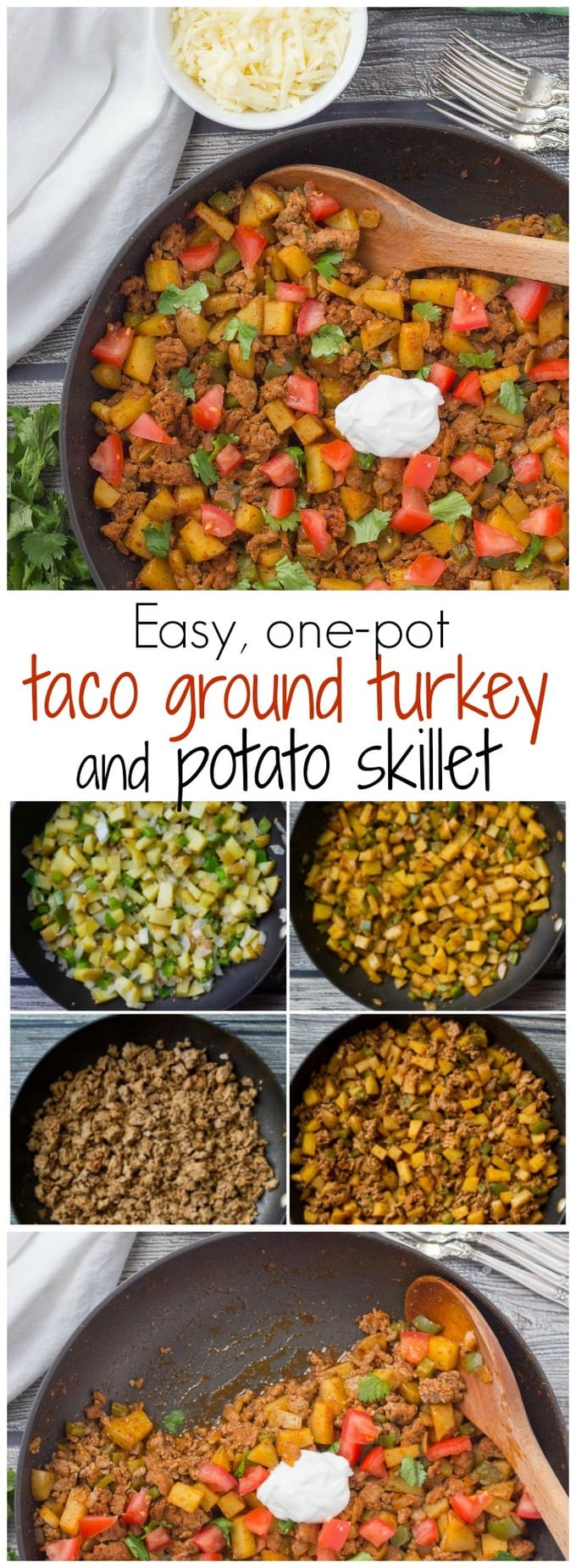 Easy, healthy ground turkey tacos with potatoes - a one-pot dinner!