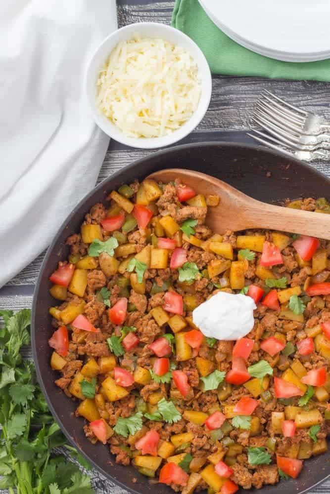 Easy Healthy Ground Turkey Taco Potato Skillet
