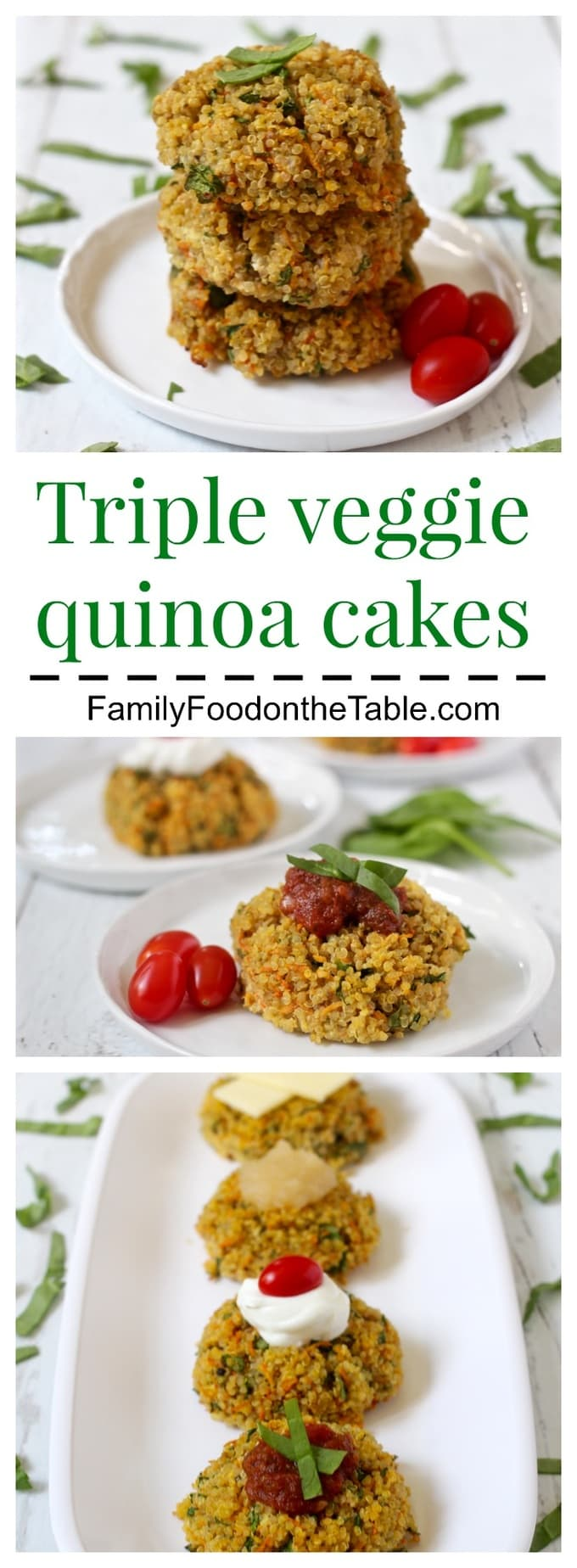 These triple veggie quinoa cakes are amazingly versatile and delicious any time of day! | FamilyFoodontheTable.com