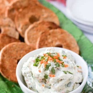 Homemade veggie cream cheese - just minutes to make and way better than store-bought! Great for an easy breakfast or brunch!