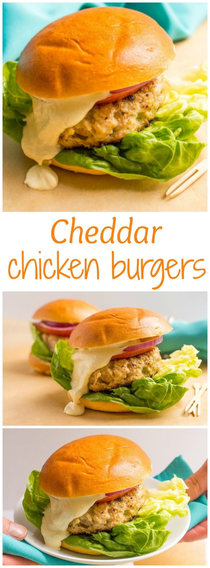 5-ingredient cheddar chicken burgers - BIG on flavor and take just 20 minutes - perfect for a quick weeknight dinner!