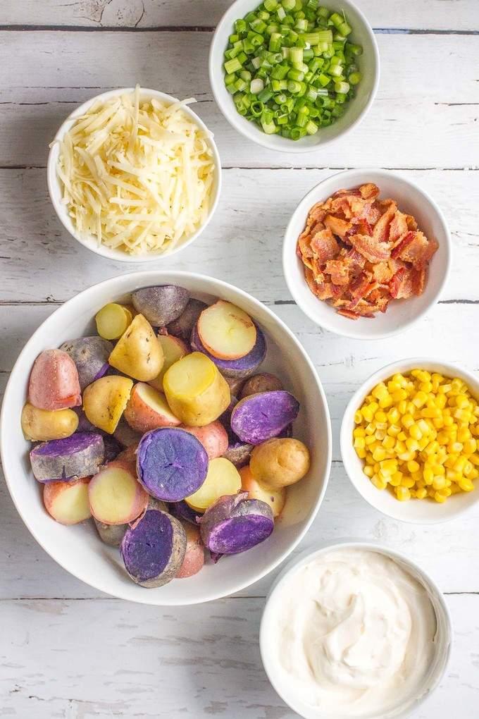 Cheddar corn and bacon potato salad