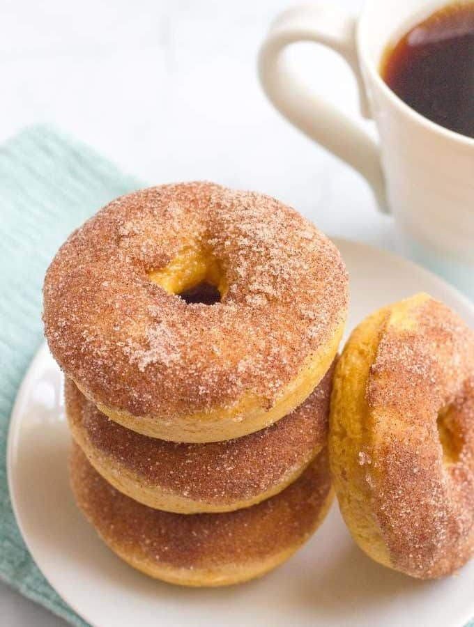 Whole wheat cinnamon sugar baked donuts - a delicious and easy breakfast!