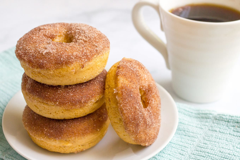 Whole wheat cinnamon sugar baked donuts