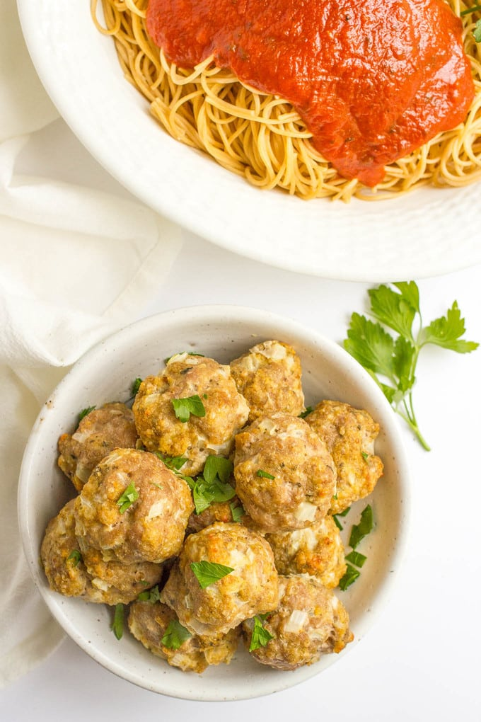 Easy homemade baked turkey meatballs pair perfectly with spaghetti or can be served as an appetizer or frozen for later!