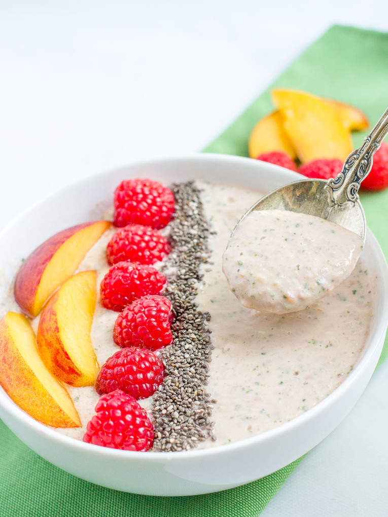 Peach, raspberry and spinach smoothie bowl -- a quick, easy, healthy breakfast or snack, especially for kids!