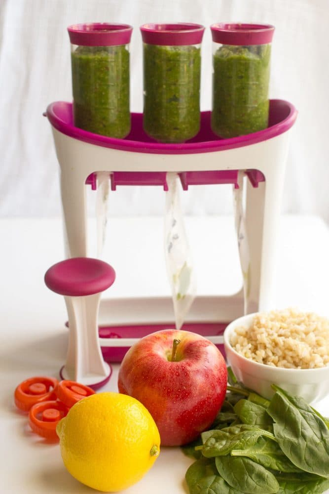 The set up for making baby food pouches using the Infantino squeeze system