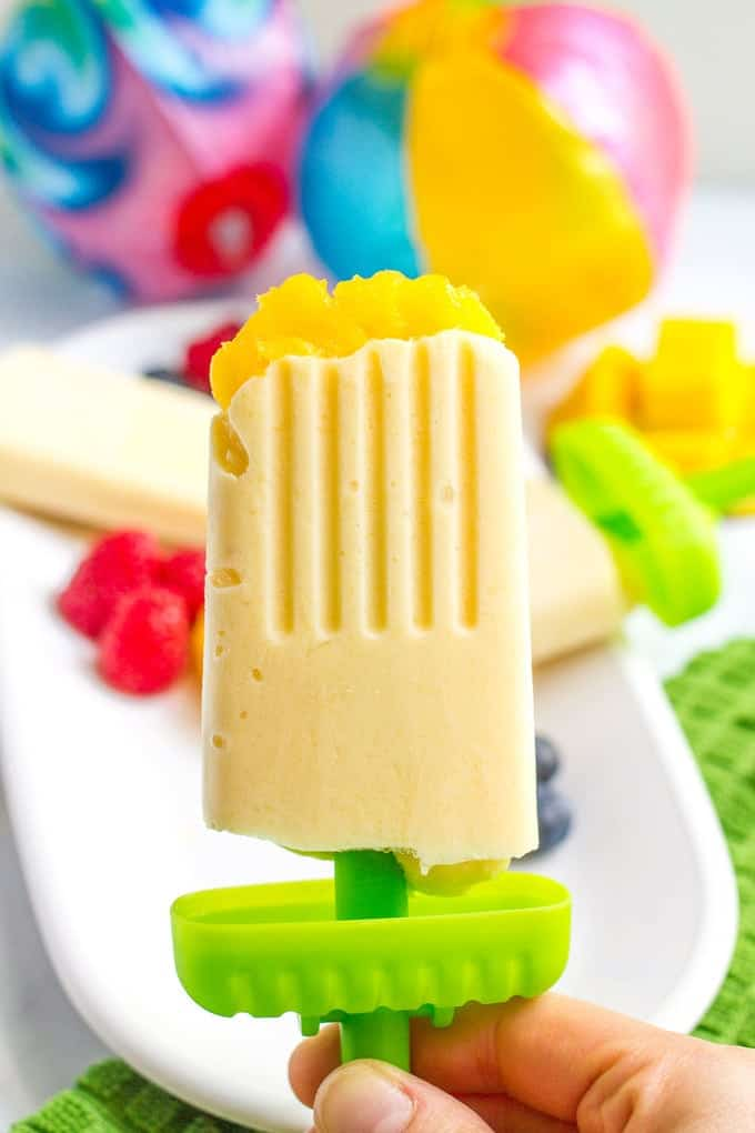 Mango yogurt popsicles - easy homemade popsicles with just 5 healthy ingredients - perfect summer treat!
