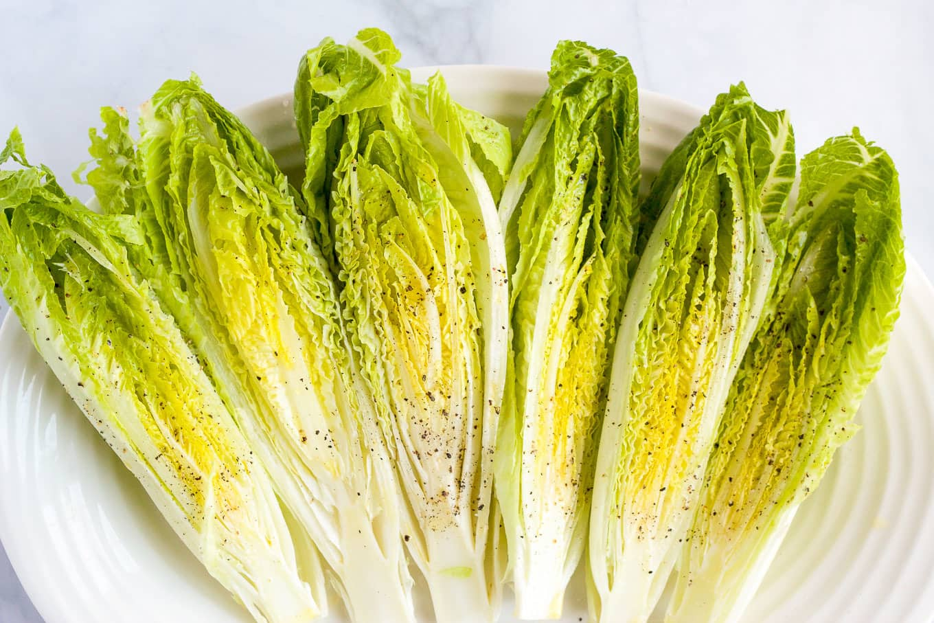 Seared romaine salad with cheater's Caesar dressing | FamilyFoodontheTable.com