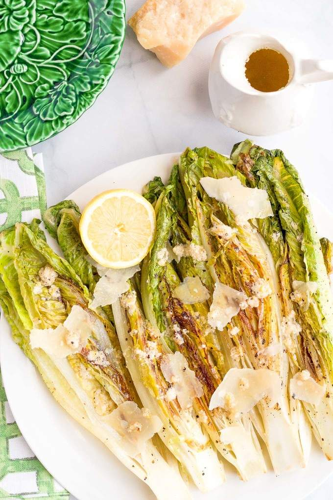 Easy seared or grilled romaine salad with cheater's Caesar dressing | FamilyFoodontheTable.com