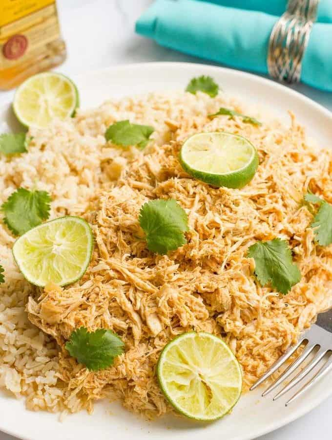Slow cooker tequila chicken is quick and easy to prep and has bright, fresh lime flavor