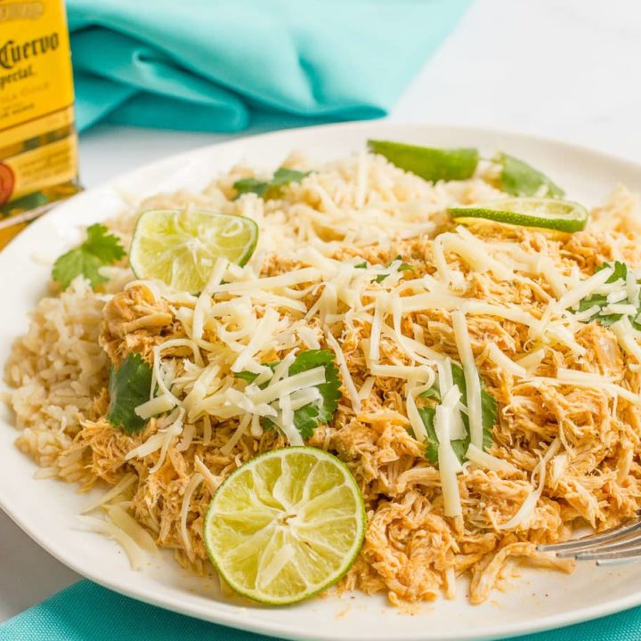 Slow cooker tequila or margarita chicken - light, bright and great for rice bowls, tacos and wraps
