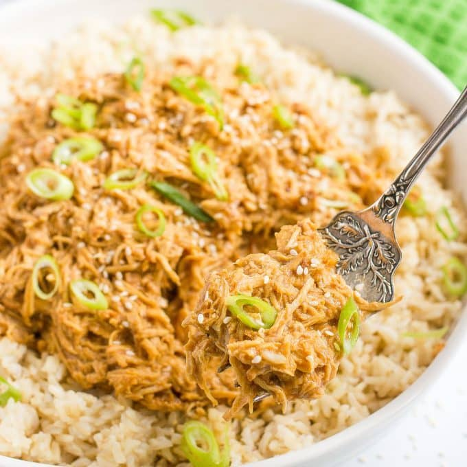 A forkful of crock pot teriyaki chicken and rice being lifted out of a large serving platter