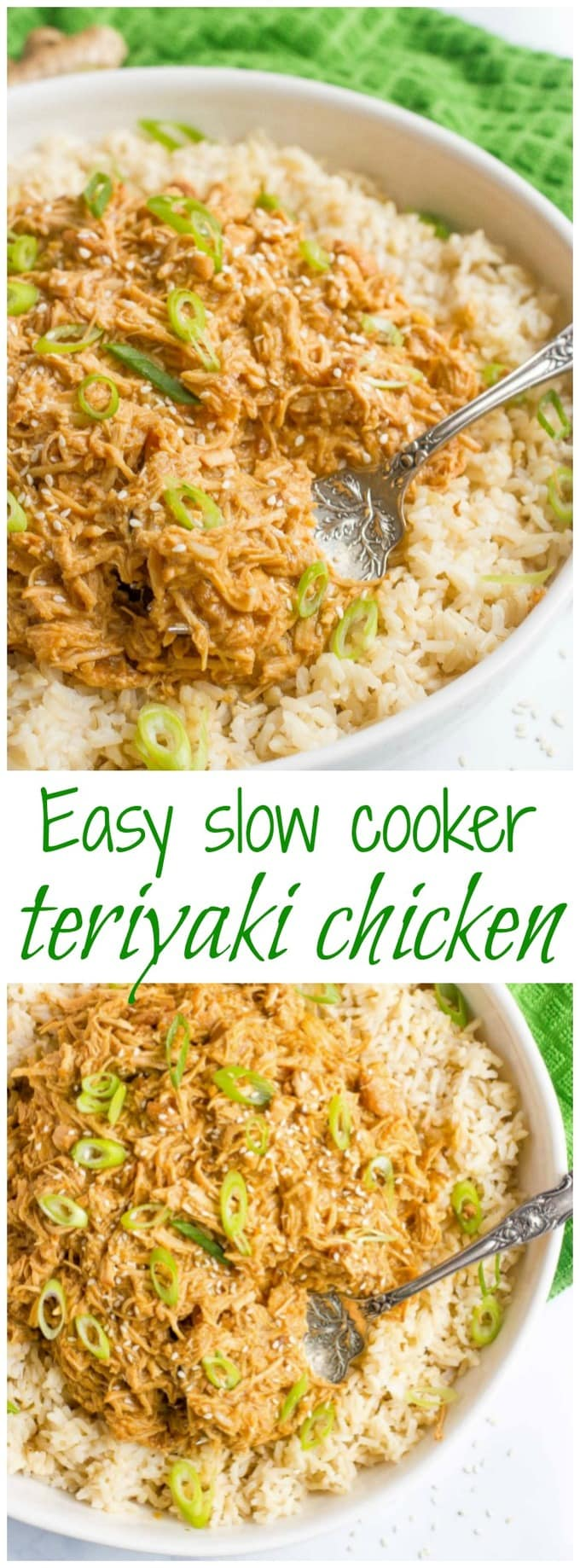 Slow cooker teriyaki chicken - a super easy, and healthy, dinner with a silky smooth rich sauce!