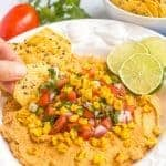 Southwestern hummus with pico de gallo and charred corn
