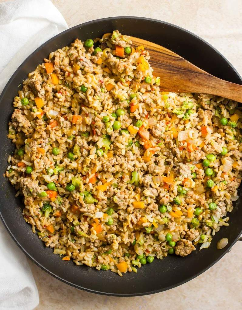 Spicy pork fried rice - a quick and easy dinner!