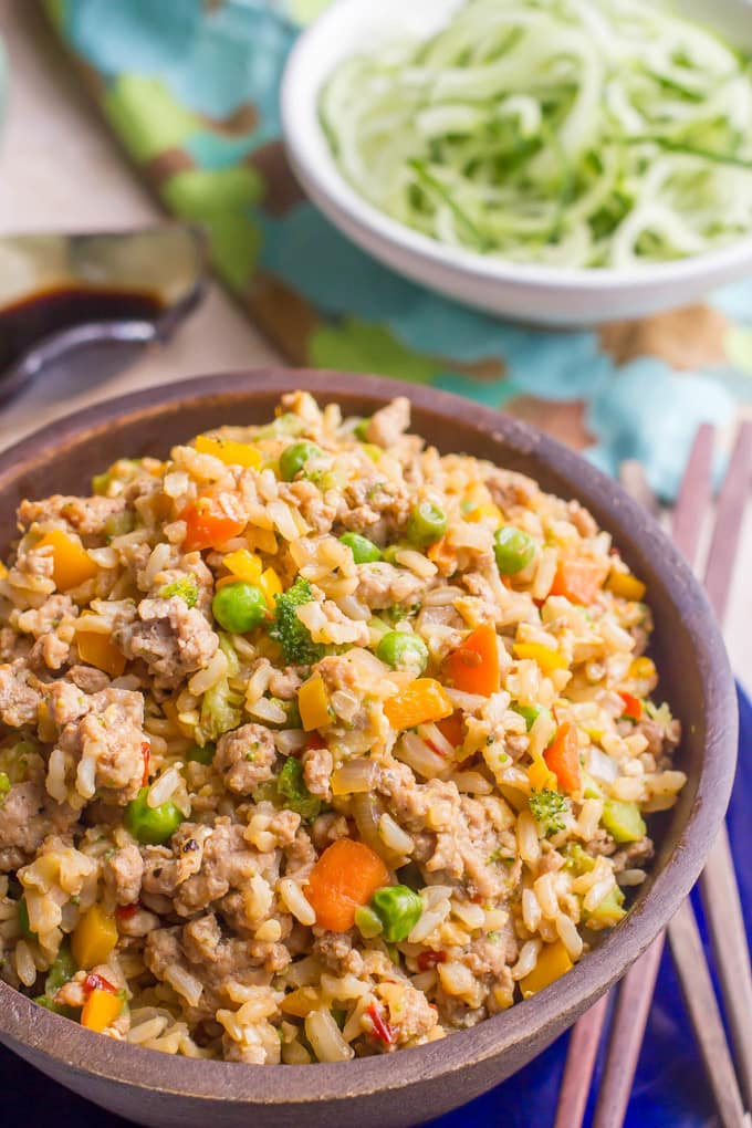 Spicy pork fried rice - a quick and easy healthy weeknight dinner that's full of flavor!