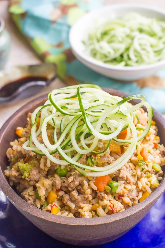 Spicy pork fried rice with spiralized cucumber - a quick and easy dinner!