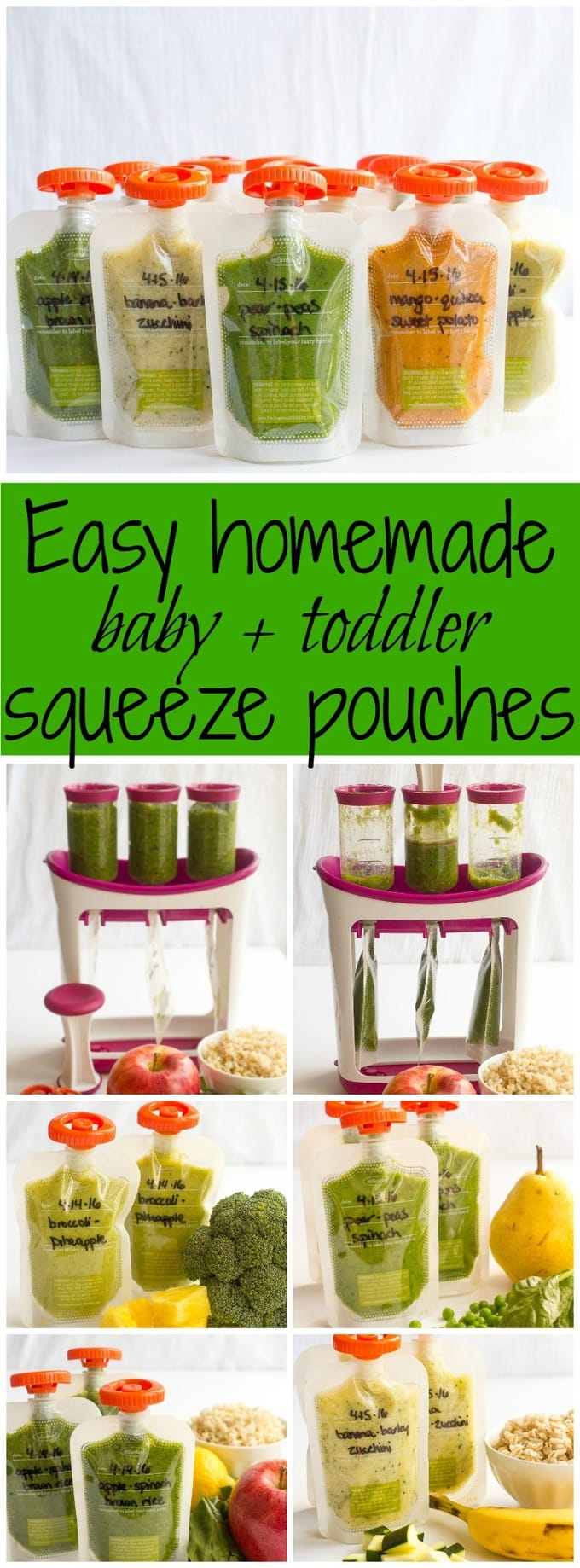 How to make homemade squeeze pouches and 5 easy recipes - great for babies toddlers & Homemade baby food pouches how-to and 5 recipes - Family Food on ...