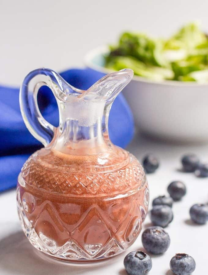 Balsamic blueberry vinaigrette - a quick and easy homemade salad dressing that takes just minutes to make in a blender | FamilyFoodontheTable.com