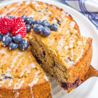 Blueberry cake with an easy lemon glaze - a healthy whole grain dessert with no butter or oil!