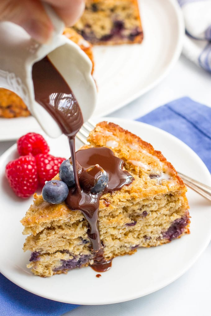Blueberry cake with chocolate sauce - a decadent topping to a healthy dessert!