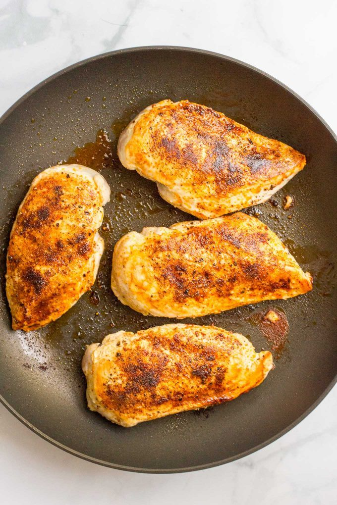 Seared chicken breasts