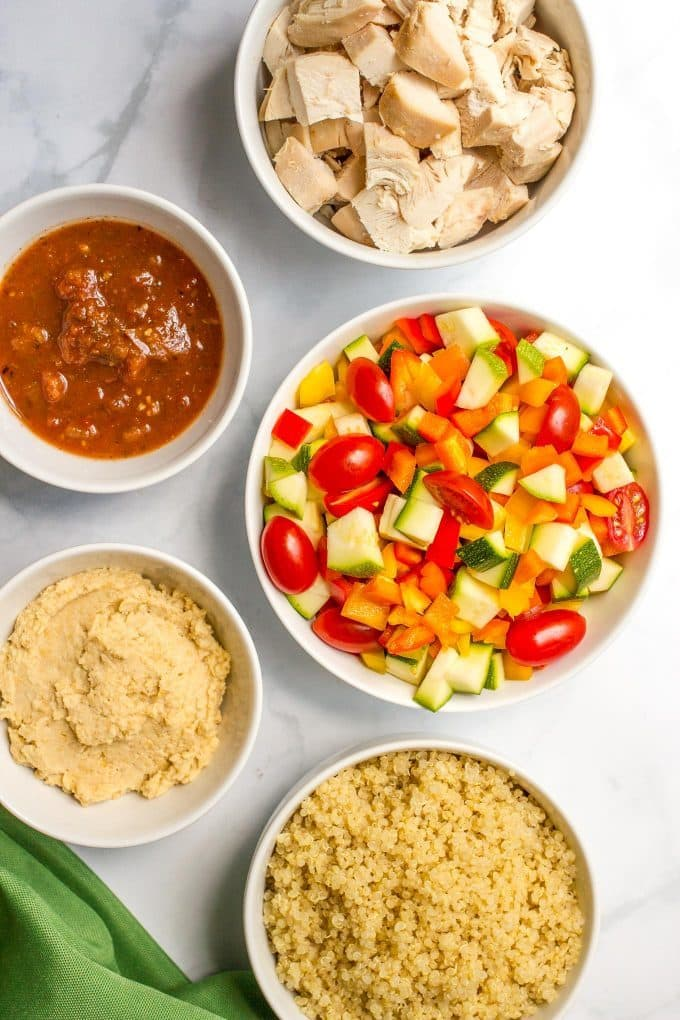 Chicken quinoa salad with veggies and salsa hummus - a quick and easy summer salad recipe!