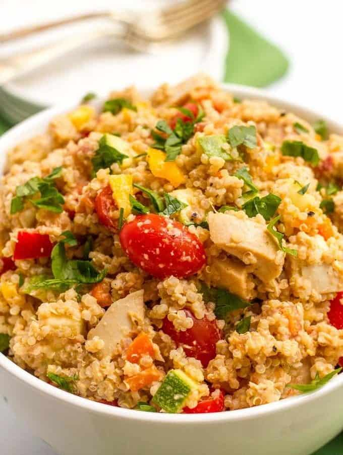Chicken quinoa salad with veggies and salsa hummus - quick and easy and a perfect light and healthy summer recipe!