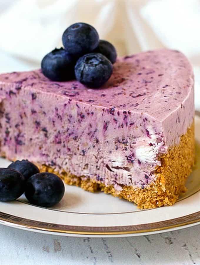 No-bake frozen blueberry pie - a super creamy summer dessert!   FamilyFoodontheTable.com