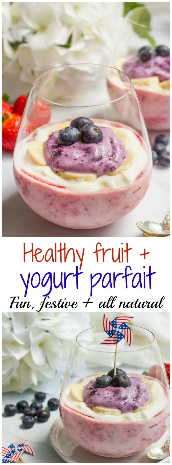 Healthy yogurt parfaits with a red, white and blue layer for a fun and festive July 4th breakfast or snack!