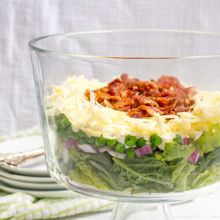 Healthier 7 layer salad - a lightened up version of this Southern salad classic!