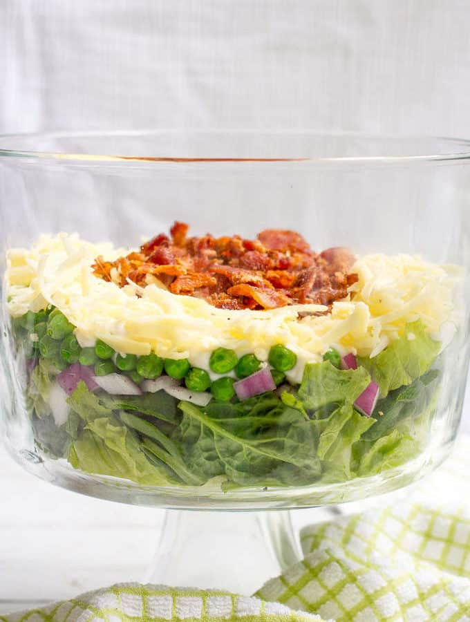 Healthier 7 layer salad - a lightened up version of this Southern salad classic - great side for summer picnics, potlucks and BBQ parties!