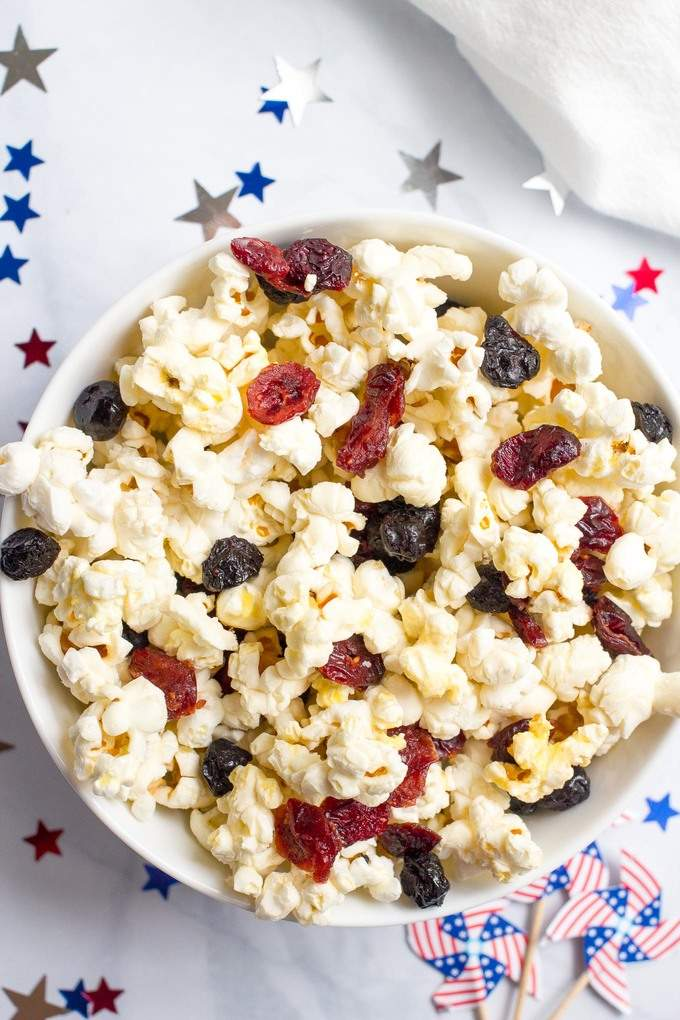 red white blue popcorn health holiday snack