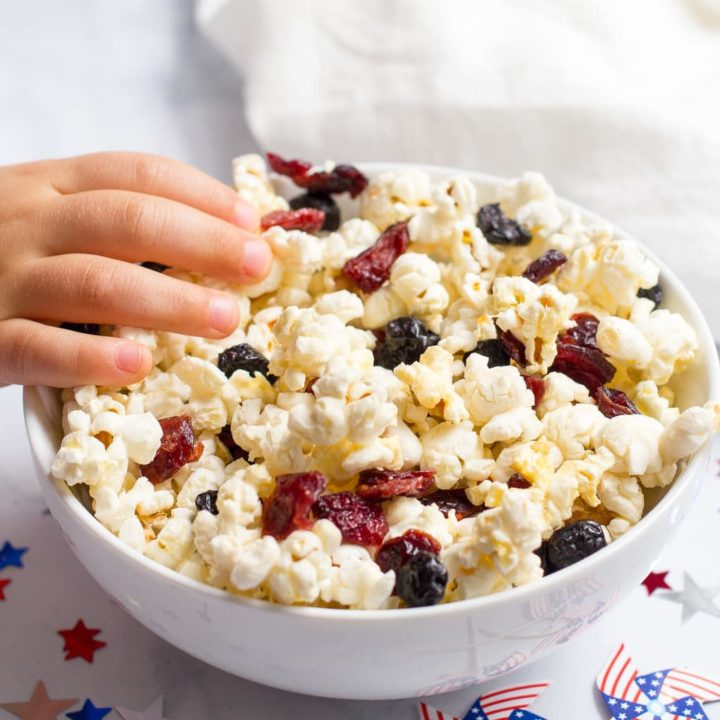 Red white and blue popcorn for a fun and festive July 4th snack!
