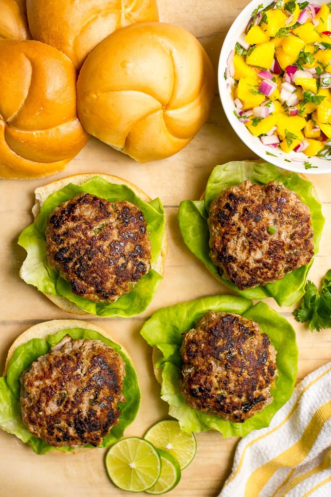 Spicy pork burgers with mango salsa | FamilyFoodontheTable.com