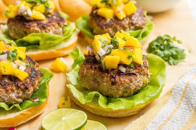 Spicy pork burgers with mango salsa