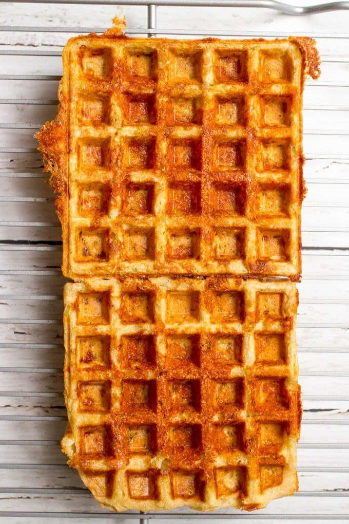 Savory whole wheat zucchini cheddar cheese waffles
