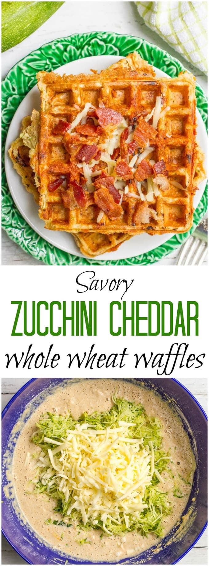 Savory waffles with zucchini and cheddar cheese make a delicious, healthy brunch or breakfast-for-dinner meal! | FamilyFoodontheTable.com