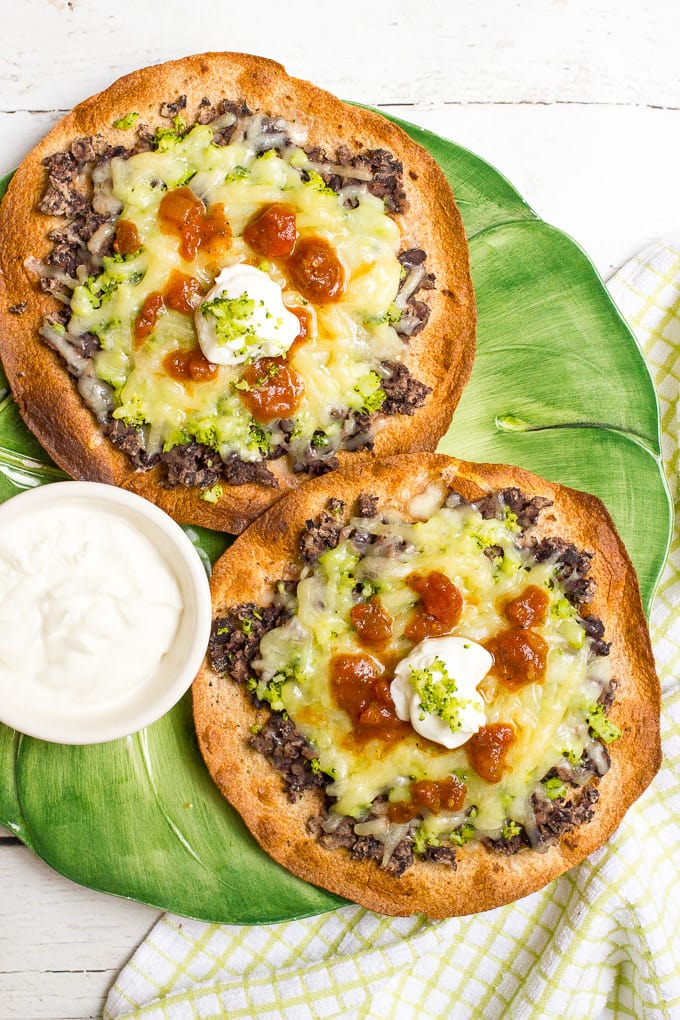 Cheesy broccoli and black bean melts are a quick, easy and healthy vegetarian tostada recipe for busy nights - kids love these!