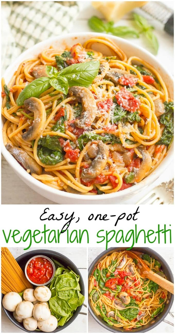one pot vegetarian spaghetti family food on the table. Black Bedroom Furniture Sets. Home Design Ideas