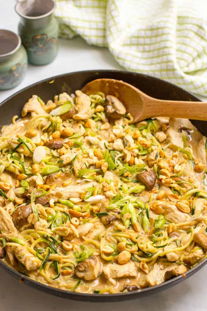Easy chicken satay with zucchini noodles, mushrooms and an addictive peanut sauce - in a one-pot 30-minute healthy dinner!