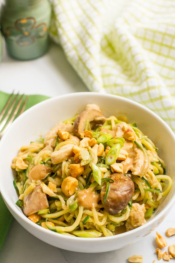 Easy chicken satay with zucchini noodles, mushrooms and an addictive peanut sauce