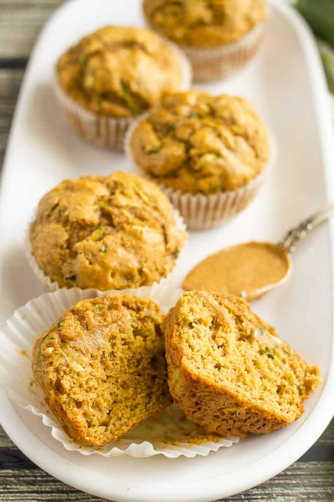 Whole wheat zucchini muffins with almond butter -- a delicious and healthy breakfast or school lunch option!