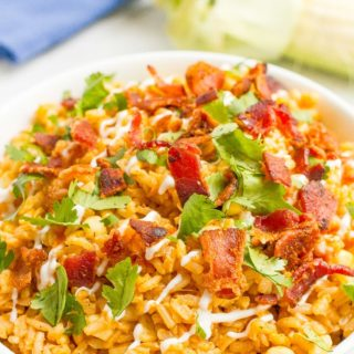 Bacon rice with corn is a one-pot summer side dish favorite that can be enjoyed year-round. Add your favorite toppings and dig in!