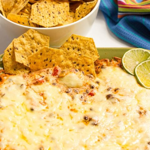 Cheesy baked black bean dip