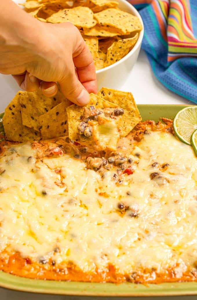 Cheesy baked black bean dip -- hot and bubbly and served with tortilla ...