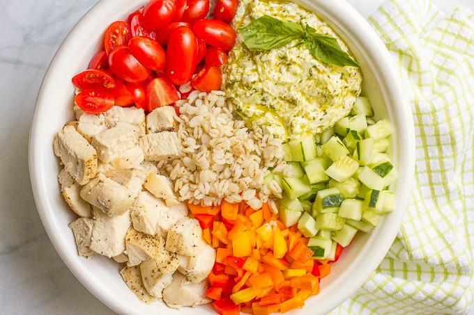 Chicken and barley salad with creamy pesto