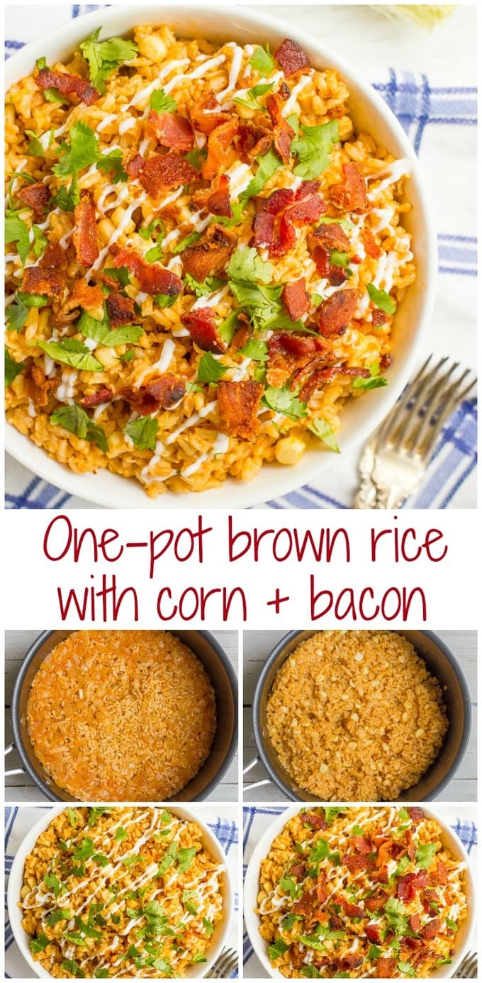 Brown rice with corn and bacon is a one-pot summer side dish favorite that can be enjoyed year-round. Add your favorite toppings and dig in!
